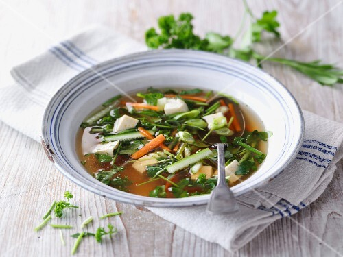 Miso soup with fresh garden herbs