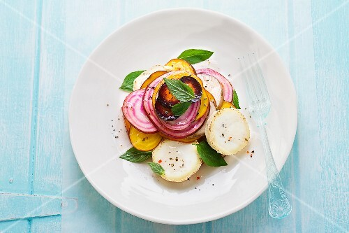Root vegetable salad with herbs