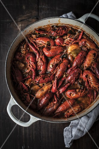 Crayfish stew with king prawns in a pot (Portugal)