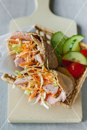 Pita bread with ham and coleslaw