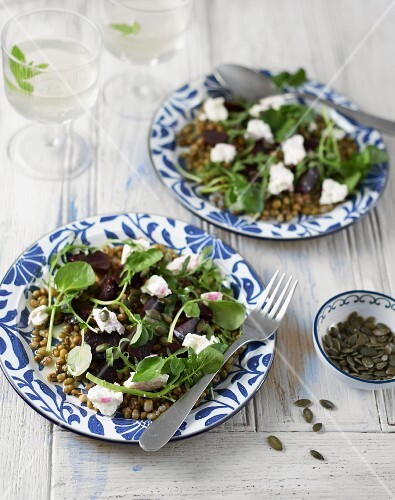 A mung bean with beetroot, goats cheese and watercress