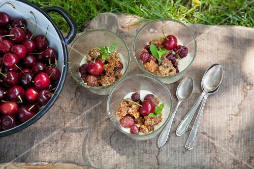 Three portions of cherry crumble in a meadow