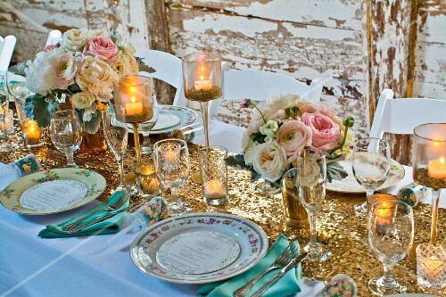 A table laid for a wedding breakfast