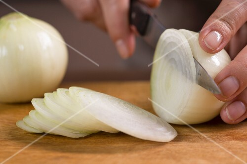 An onion being cut