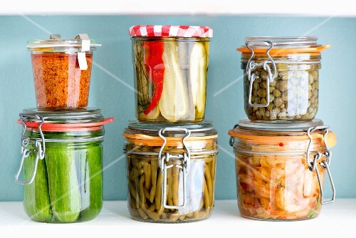 Pickled vegetables in preserving jars