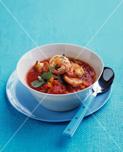 Tomato soup with king prawns