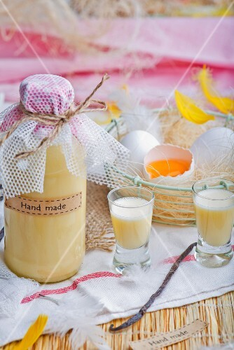 Homemade eggnog and a wire basket of fresh egg