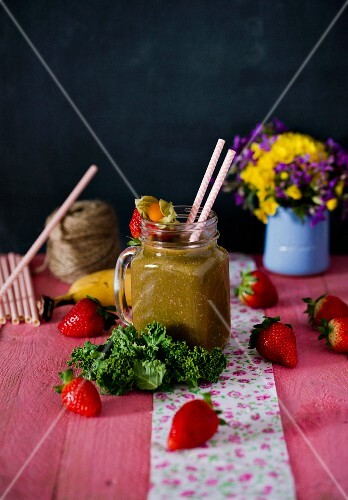 A strawberry, mango, banana and kale smoothie