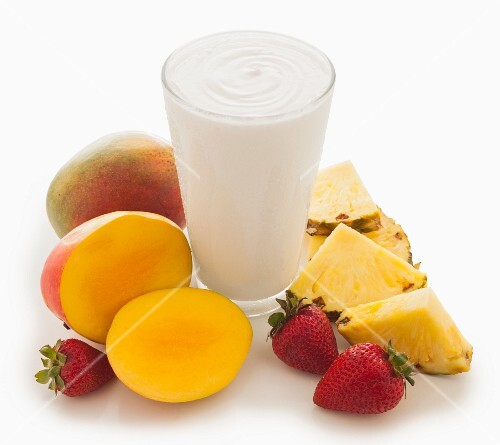 A mango, pineapple and strawberry smoothie