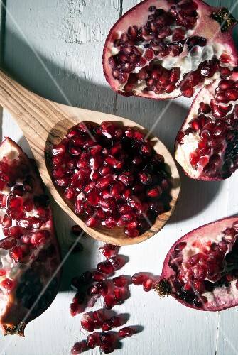 Pomegranate seeds and a broken pomegranate