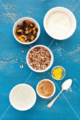 Ingredients for carrot and spelt cupcakes with coconut