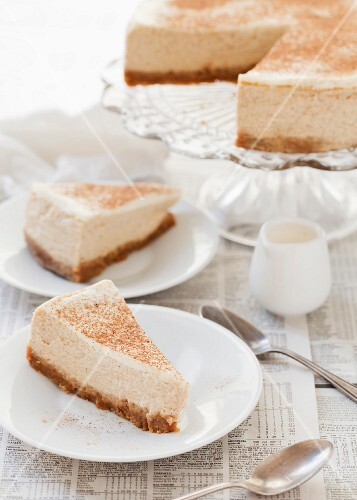 Orange and rum cheesecake with a trio of spices, sliced