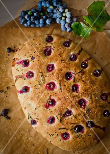 Focaccia with grapes and rosemary