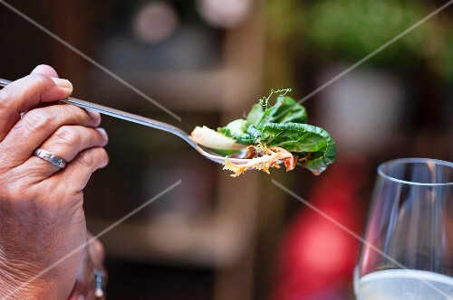 A person holding a fork of salad