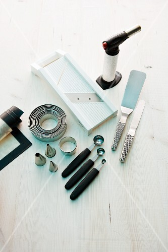 Various kitchen utensils and equipment for making garnishes
