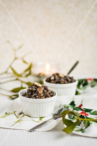 Kutia - traditional Polish Christmas dessert with poppy seeds, wheat and dried fruits