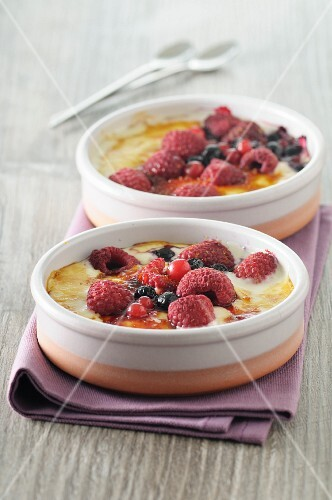 Two summer berry gratins