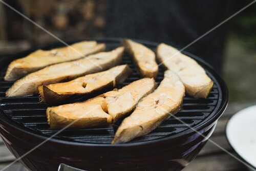Smoked halibut steaks on a kettle grill