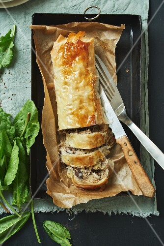 Black pudding and liver pâté strudel (Germany)