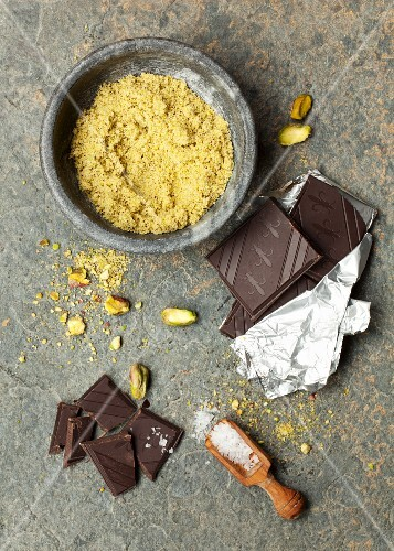 Ingredients for pistachio biscuits with chocolate glaze and sea salt