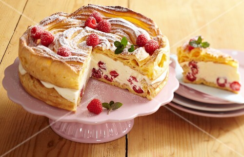 A light creamy cheesecake made from choux pastry with raspberries