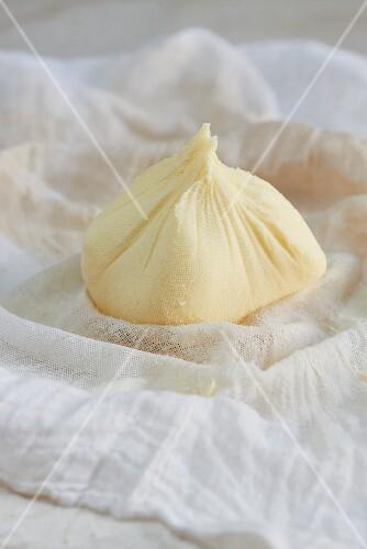 Homemade butter on a muslin cloth