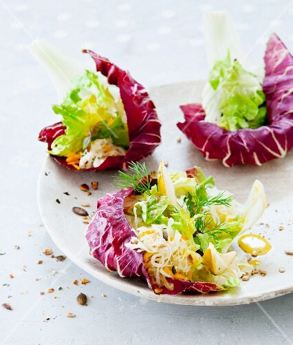 Vegetable salad with radicchio leaves