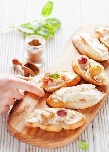 A selection of crostini with taleggio cheese