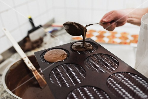 Chocolate being poured into a mould