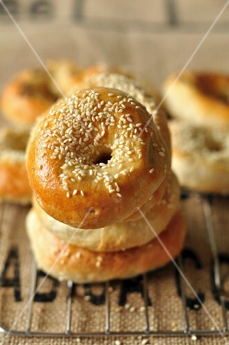 A stack of sesame seed bagels