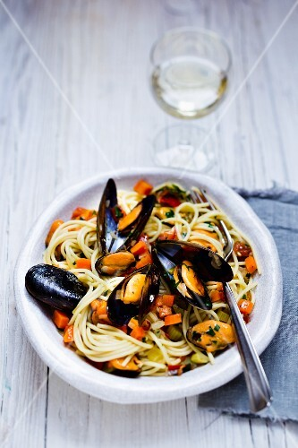Spaghetti with mussel
