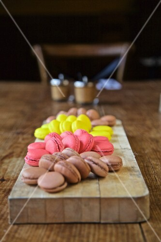 Macaroons on a rustic wooden table