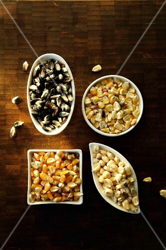 Various types of corn kernels in bowls (seen from above)
