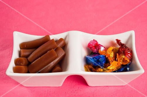 Chocolates and Australian raspberry liquorice in a porcelain bowl