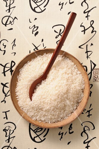 Rice in a wooden bowl
