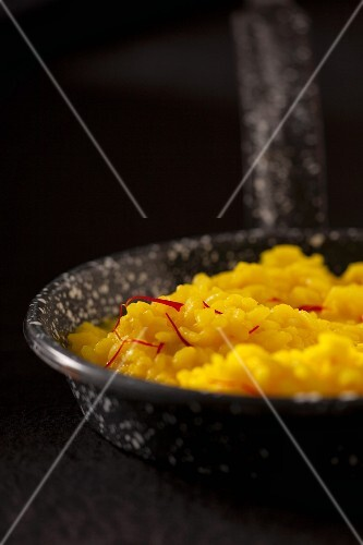 Saffron rice in a pan