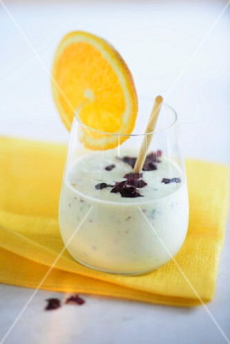 A white smoothie with seaweed