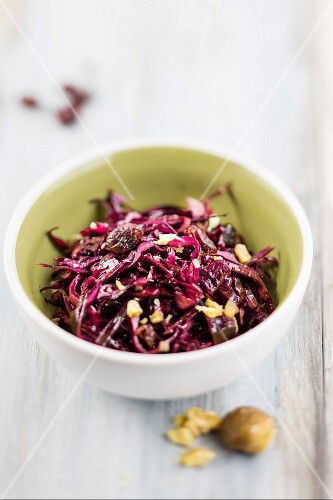 Red cabbage salad with chestnuts and cranberries