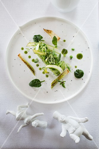 Peas with green vegetables in 'Le Montagne', Chardonne, Lake Geneva, Switzerland