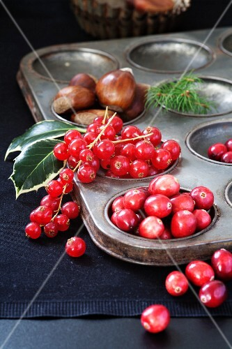 Cranberries, redcurrants and chestnuts in an old baking tin