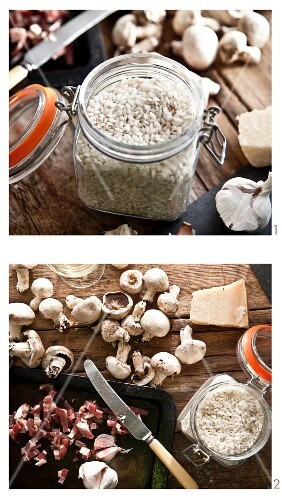 Mushroom risotto with pancetta being made