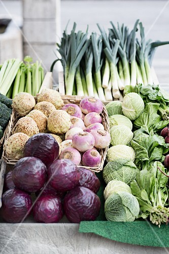Fresh vegetables at a weekly market, Yverdon-les-Bains on Lake Neuchâtel, Switzerland