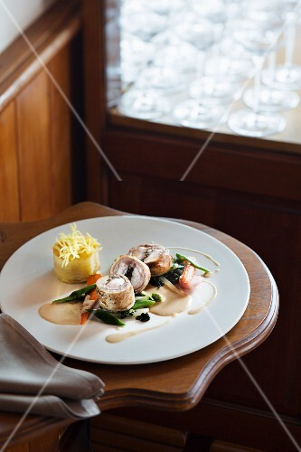 Saddle of rabbit filled with morel mushrooms from the La Vieille Auberge on Lake Neuchâtel, Switzerland