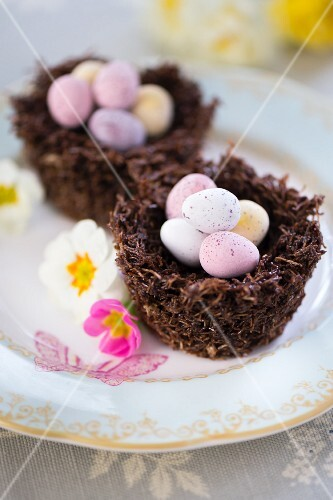 Easter nests filled with chocolate eggs