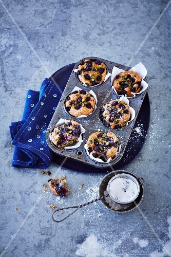 Blueberry muffins in muffin tin