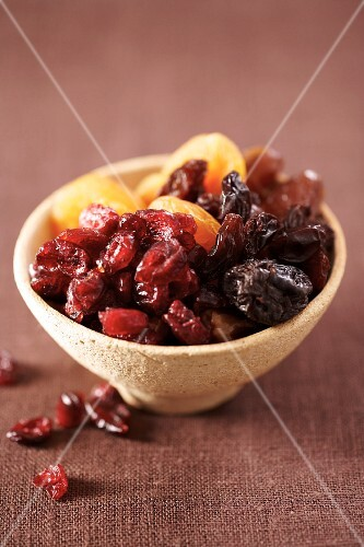 A bowl of dried fruit