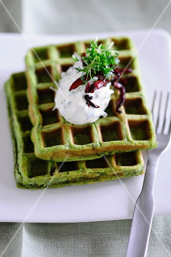 Herb waffles with quark
