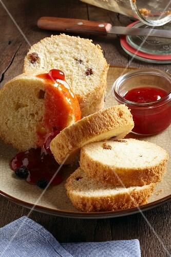 Raisin bread baked in a glass