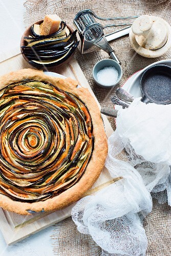Aubergine and carrot tart