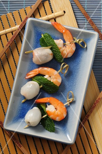 Lychee and prawn skewers with mint